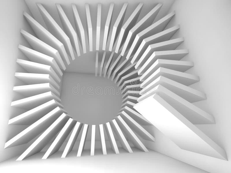 Interior vazio branco abstrato da sala com hélice 3d ilustração stock