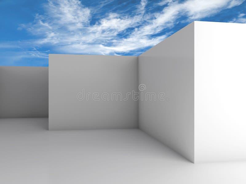 Interior vazio branco da sala sob o céu azul nebuloso ilustração do vetor