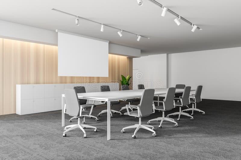 Interior vazio branco moderno do escritório com espaço dos debates 3d rendem Cartaz do modelo ilustração do vetor