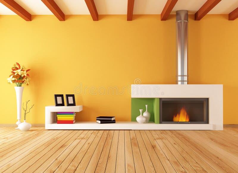 Interior vazio com chaminé minimalista ilustração stock