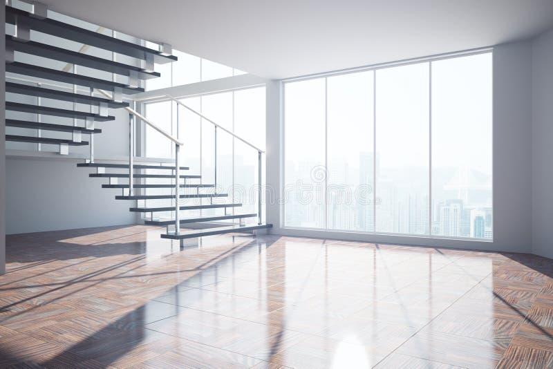 Interior vazio com escadas e luz solar ilustração do vetor