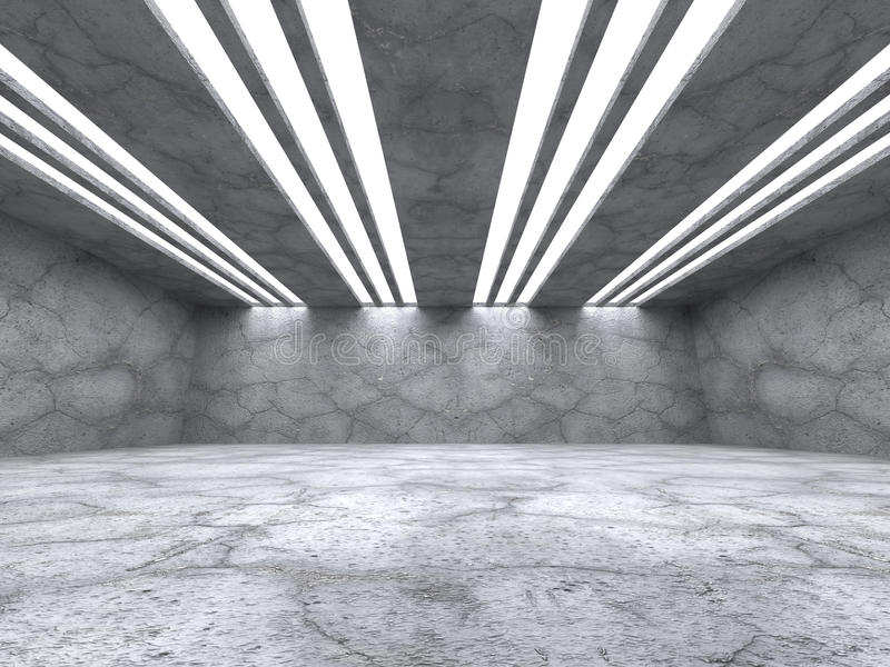Interior vazio concreto da sala Fundo abstrato da arquitetura ilustração stock