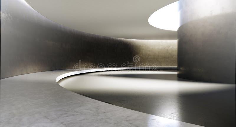 Interior vazio contemporâneo e futurista com luz natural na parede do concret e reflexões no assoalho Conceito de ilustração do vetor