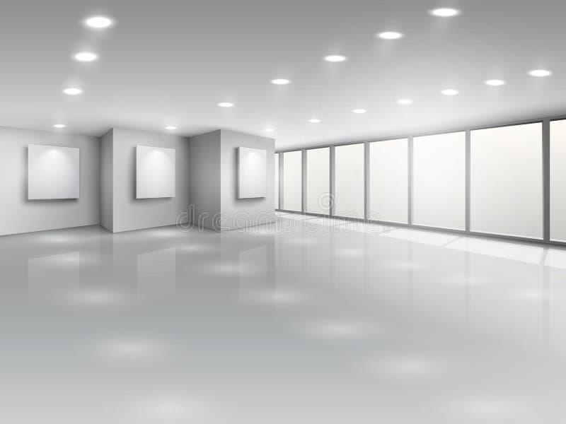 Interior vazio da galeria com janelas claras ilustração do vetor
