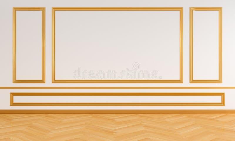 Interior vazio da sala branca com o molde para o modelo, rendição 3D ilustração royalty free
