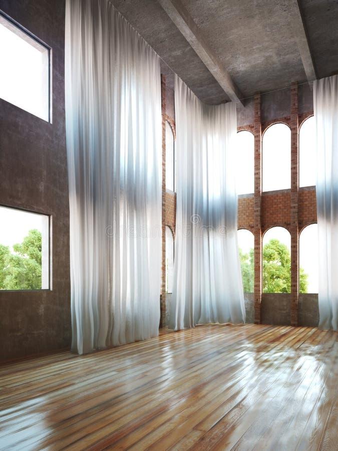 Interior vazio da sala com acentos rústicos e cortinas ilustração do vetor