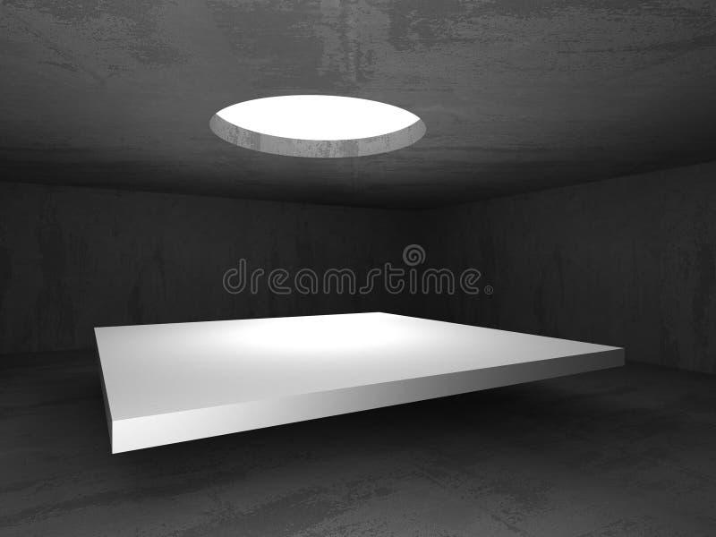 Interior vazio da sala do porão escuro Muros de cimento ilustração stock