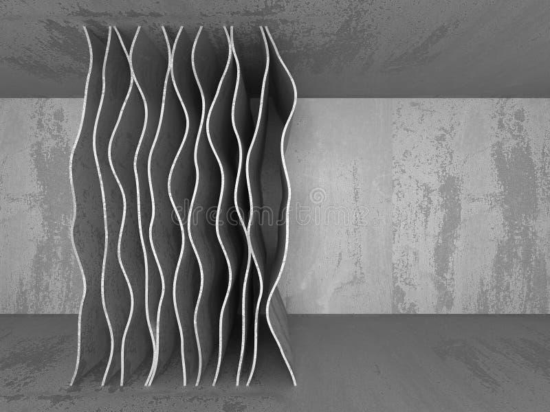 Interior vazio da sala do porão escuro Muros de cimento ilustração royalty free