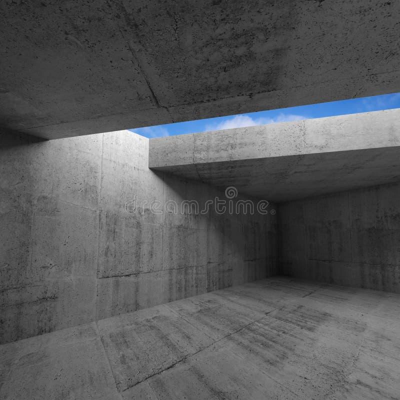 Interior vazio da sala escura com muros de cimento ilustração royalty free