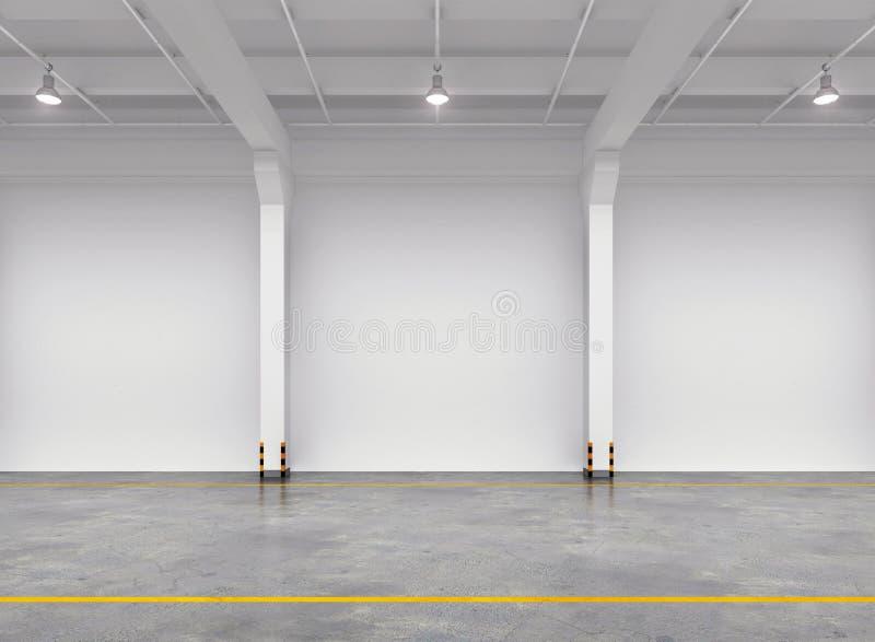 Interior vazio do armazém ilustração do vetor