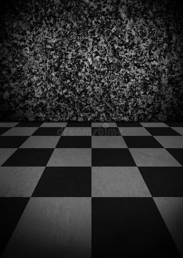 Interior vazio do Grunge com o assoalho de mármore quadriculado fotografia de stock