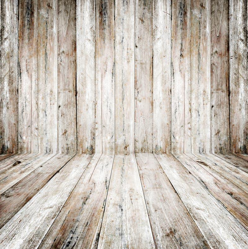 Interior vazio do grunge da sala do vintage - assoalho de madeira velho da parede e da madeira imagem de stock