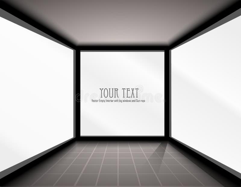 Interior vazio do vetor com janelas grandes ilustração stock
