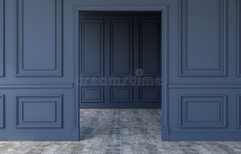 Interior vazio luxuoso da sala no projeto clássico moderno, rendição 3D fotografia de stock