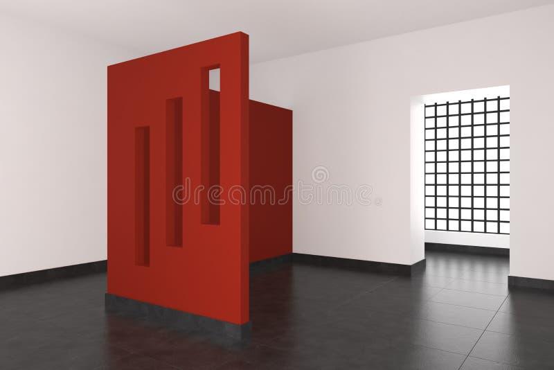 Interior vazio moderno com parede e os indicadores vermelhos ilustração do vetor
