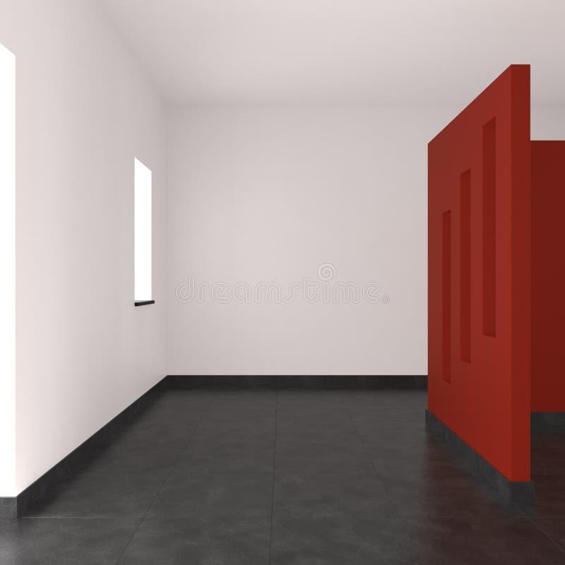 Interior vazio moderno com parede vermelha ilustração stock