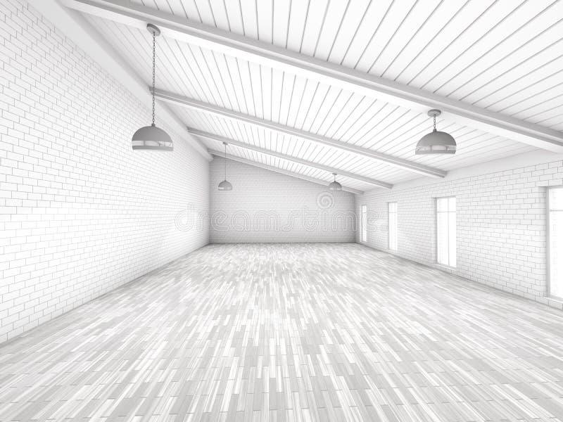 Interior vazio simples da sala com lâmpadas 3d foto de stock