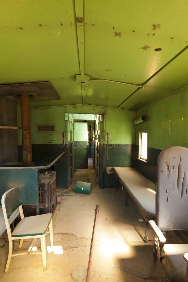 Interior velho do trem fotos de stock