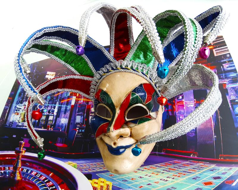 Interior Venetian carnival masks of Joker. Venice carnival background. Museum of  Arts, Saratov, Russian Federation, 2019 stock photography
