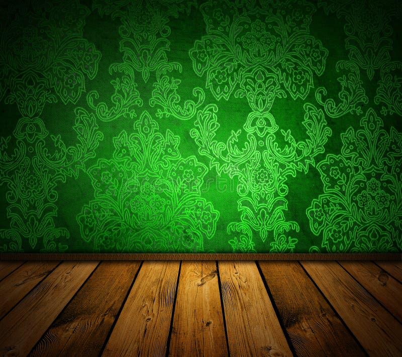 Interior verde afiado do vintage ilustração stock
