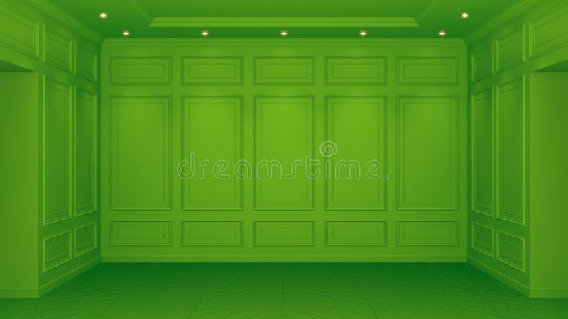 Interior verde clásico con el espacio de la copia Paredes rojas con la decoraci?n cl?sica Raspa de arenque del entarimado del pis ilustración del vector