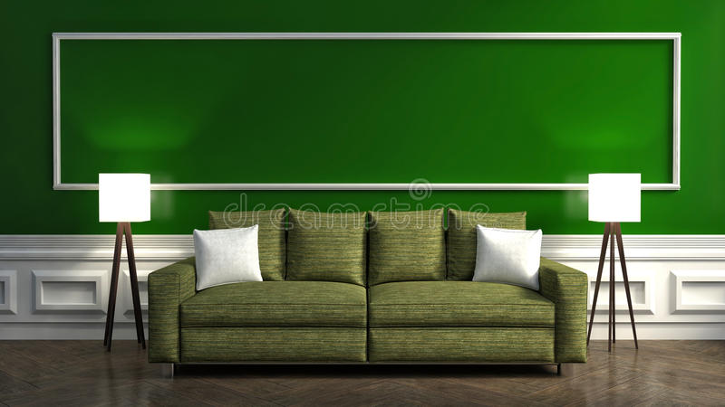 Interior verde clásico con el sofá y la lámpara ilustración 3D stock de ilustración