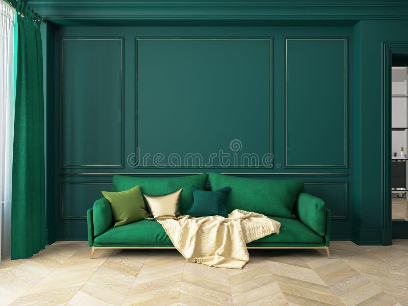 Interior verde clássico com sofá ilustração royalty free