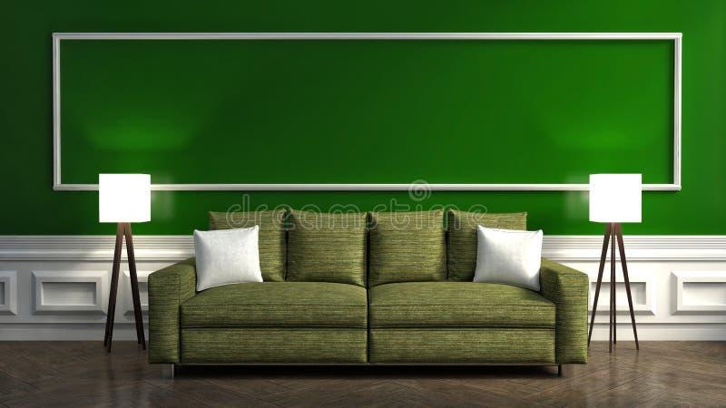 Interior verde clássico com sofá e lâmpada ilustração 3D ilustração stock