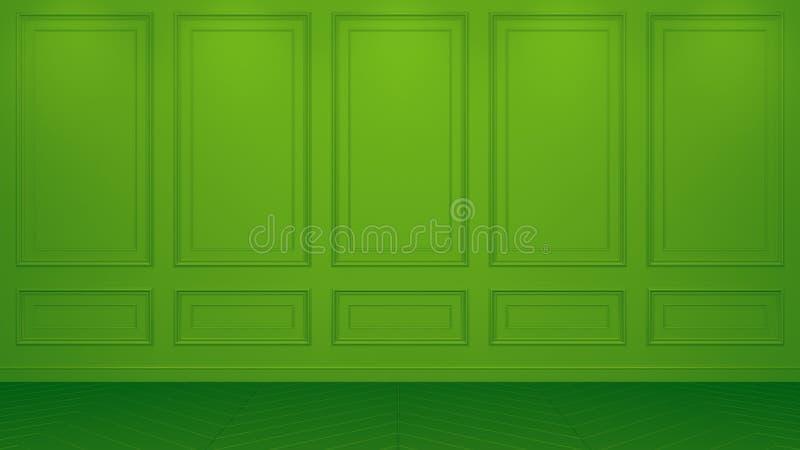 Interior verde cl?sico con el espacio de la copia Paredes rojas con la decoraci?n cl?sica Raspa de arenque del entarimado del pis libre illustration