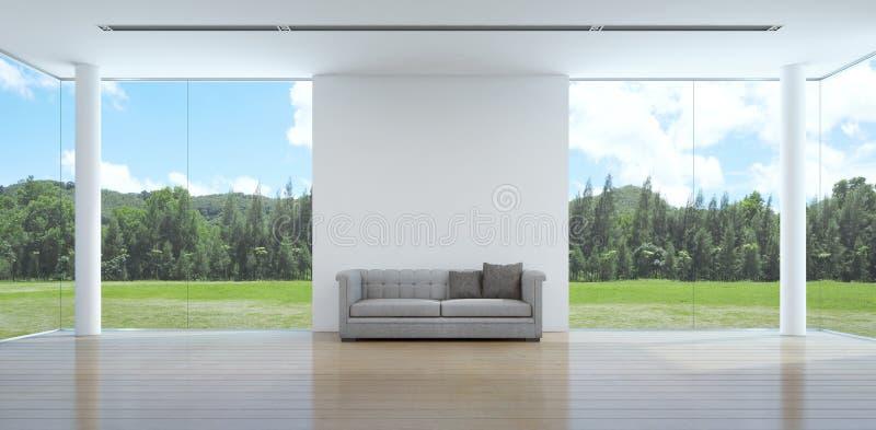 Interior verde de la sala de estar de la opinión del jardín en casa moderna ilustración del vector