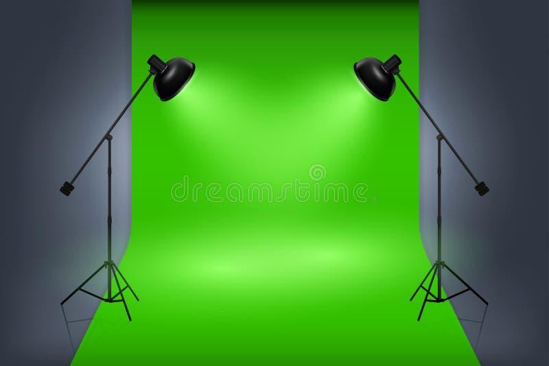 Interior verde del estudio de la pantalla del vector con los proyectores libre illustration