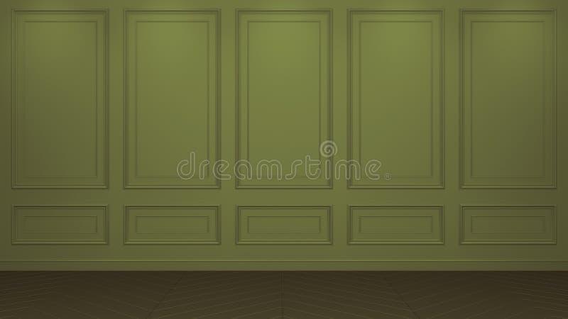 Interior verde oliva cl?sico con el espacio de la copia Paredes rojas con la decoraci?n cl?sica Raspa de arenque del entarimado d stock de ilustración