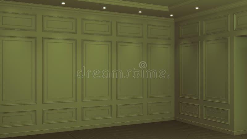 Interior verde oliva cl?sico con el espacio de la copia Paredes rojas con la decoraci?n cl?sica Raspa de arenque del entarimado d libre illustration