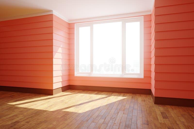 Interior vermelho espaçoso com luz solar ilustração stock