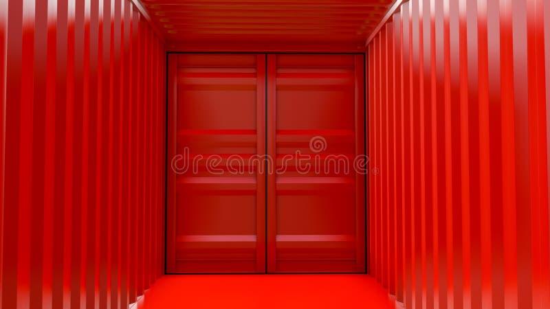 Interior vermelho vazio do recipiente de carga fotografia de stock royalty free
