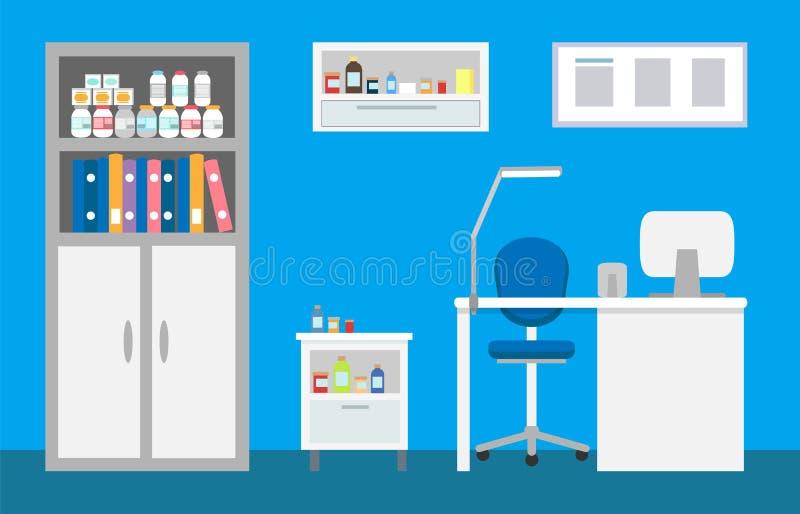Interior veterinário da clínica, veterinário do hospital de animais ilustração do vetor