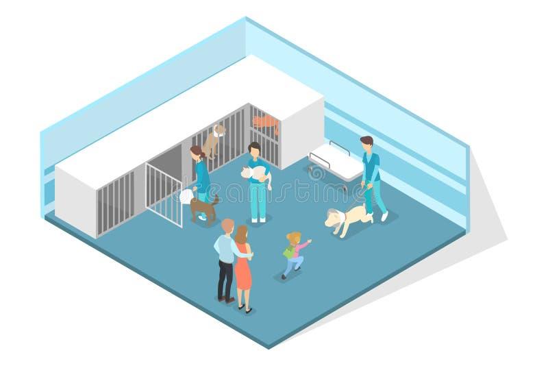 Interior veterinário da sala da clínica Doutores e animais de estimação doentes ilustração stock