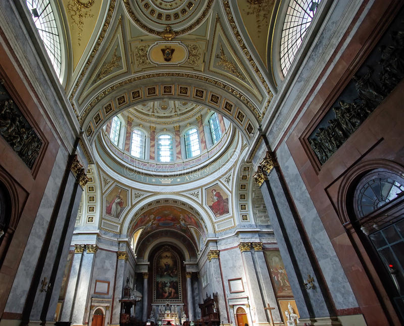 Interior view in basilica royalty free stock photography