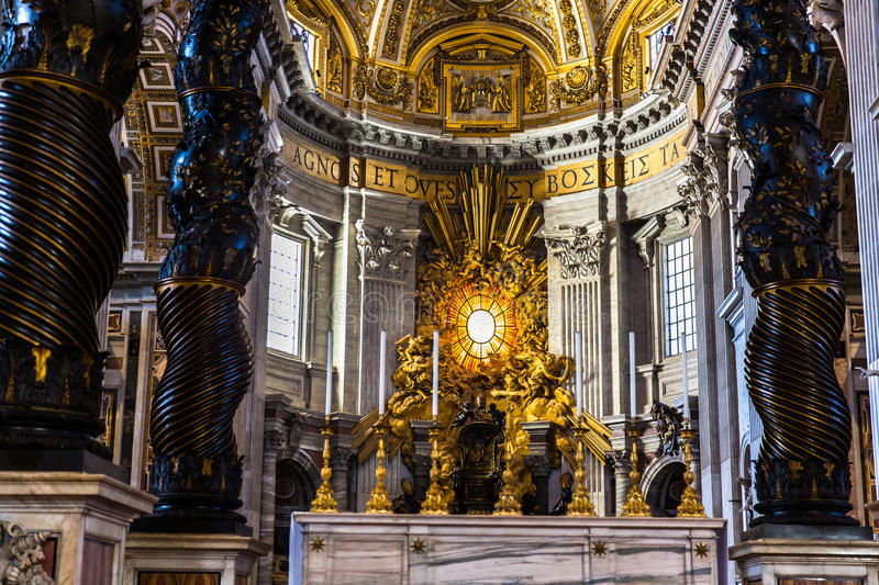 Interior view of Basilica di San Pietro in Vaticano. Interior view of Basilica di San Pietro,Vaticano royalty free stock photography