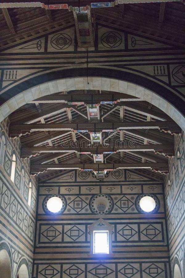 Interior view of Basilica San Miniato al Monte, Florence, Tuscany, Italy stock photo