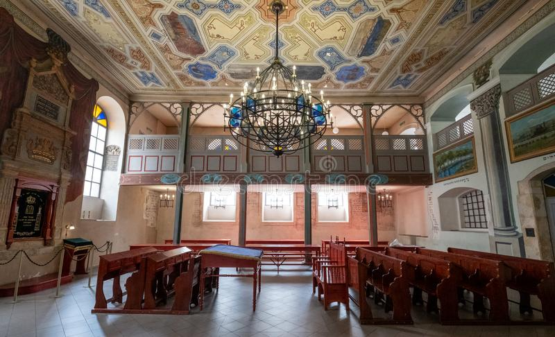 Interior view of the 17th century Kupa Synagogue in Kazimierz, the historic Jewish quarter of Krakow, Poland. Interior view of the beautiful 17th century Kupa stock photography
