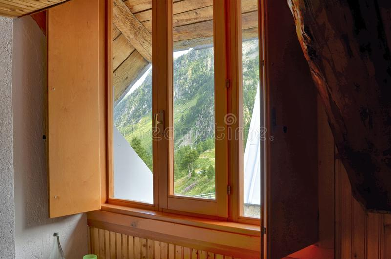 Interior view of the bedroom of a chalet stock photos