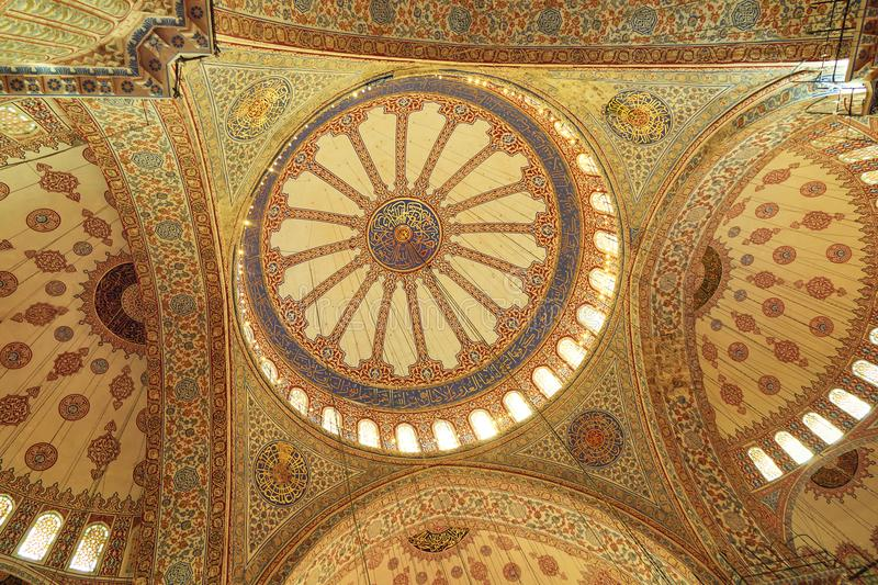 Interior view from the Blue Mosque,. The interior view of the domes of the Blue Mosque, Sultanahmet Mosque, built by Sultan Ahmed, Istanbul, Turkey stock images