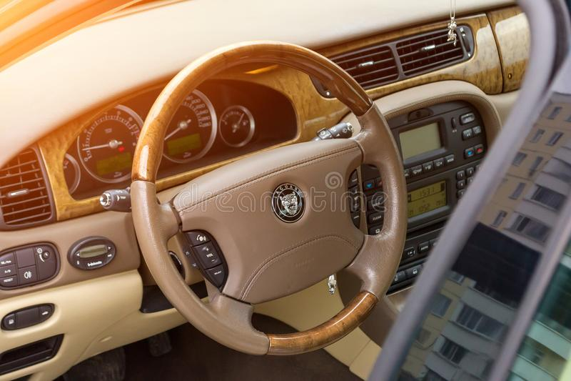 Interior view of brightly green Jaguar S-type 2007 royalty free stock photography