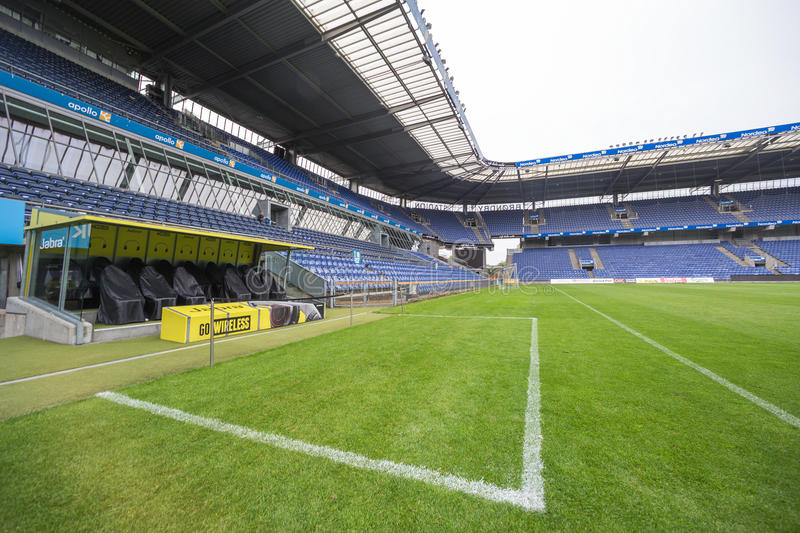 Interior view of Brondby Arena. Copenhagen, Denmark - August 26, 2015: Interior view of Brondby Arena during the UEFA Europa League, first round of the playoffs stock photography