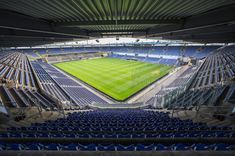 Interior view of Brondby Arena. Copenhagen, Denmark - August 26, 2015: Interior view of Brondby Arena during the UEFA Europa League, first round of the playoffs royalty free stock images