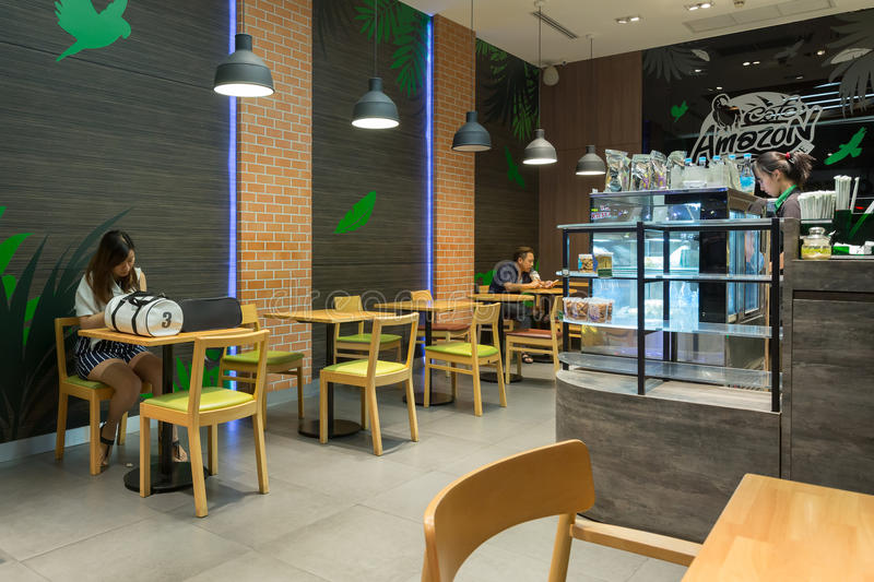 Interior view of cafe amazon coffee shop editorial stock for 18 8 salon franchise