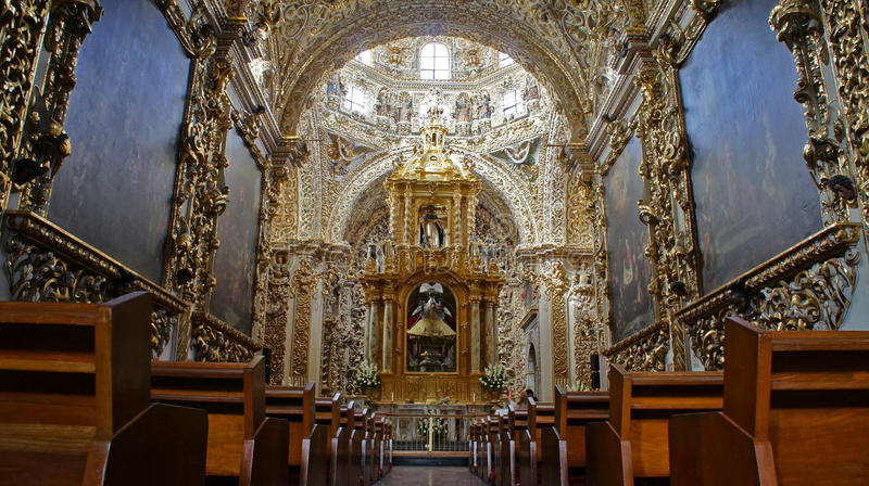 Interior view of Chapel of the Rosary Capilla del Rosario, city of Puebla, Mexico. Interior view of Chapel of the Rosary Capilla del Rosario. It is an example of royalty free stock photography