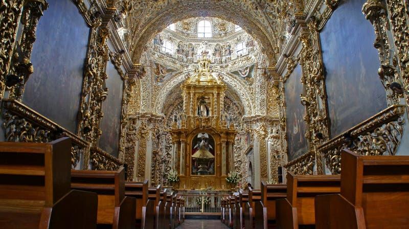 Interior view of Chapel of the Rosary Capilla del Rosario, city of Puebla, Mexico royalty free stock photography