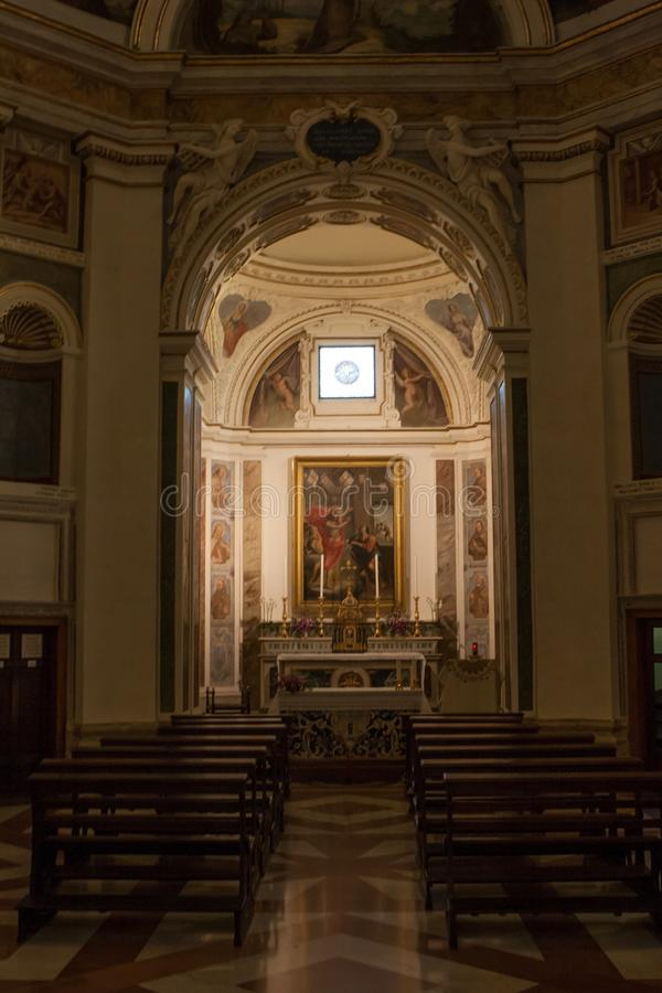 Interior view of Chiesa Nuova church, Assisi, Umbria, Italy stock photo